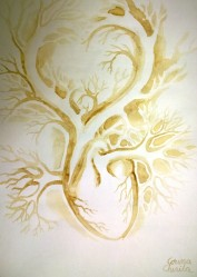 Coffee painting of a heart - inima pictata cu cafea