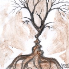Copacul sarutului pictura facuta cu cafea - The tree of the kiss coffee painting