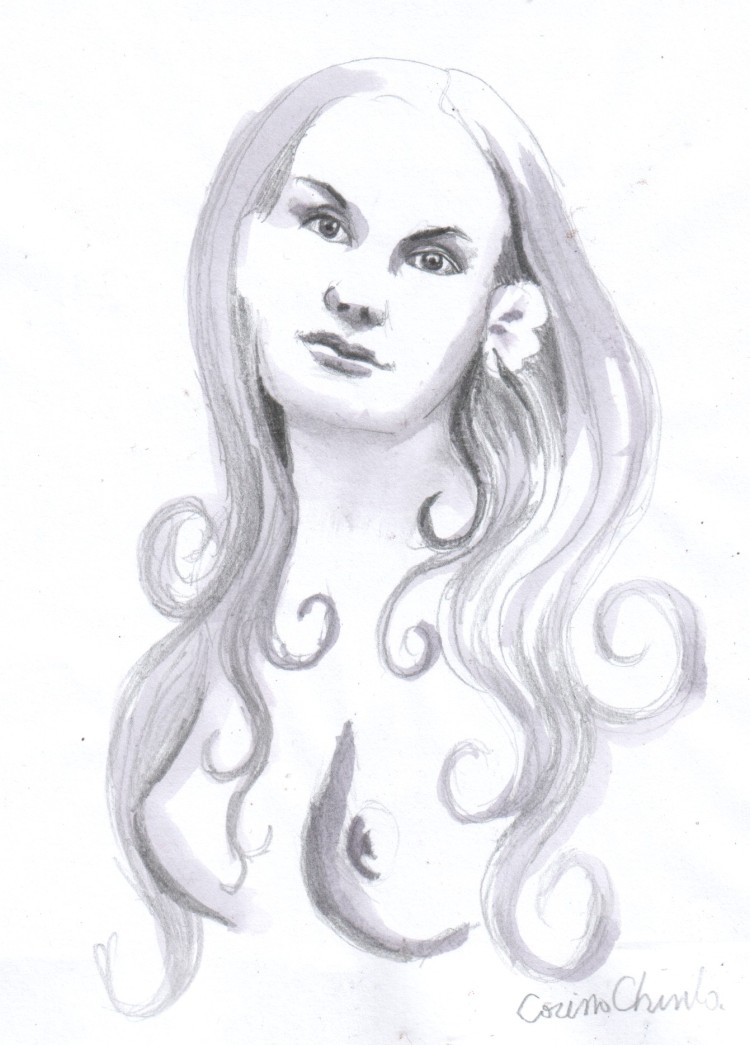 desen in creion pictat cu vin portret de femeie