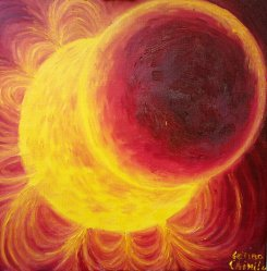 Eclipsa partiala de soare pictura ulei pe panza - Solar eclipse oil on canvas painting