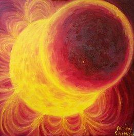 Eclipsa partiala de soare pictura ulei pe panza - Solar eclipse oil on canvas painting
