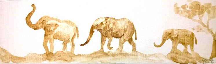 Elephants painted with coffee - Elefanti pictura facuta cu cafea