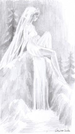 Fantoma de la Cascada Valul miresei desen in creion