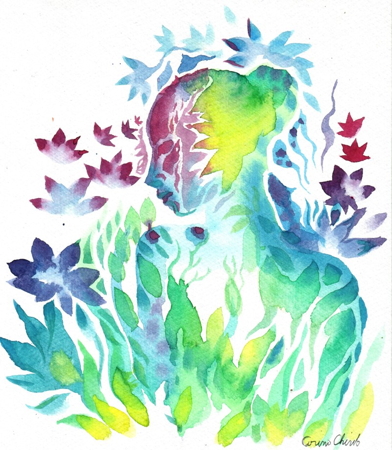 Flora and the flowers Watercolor painting-1