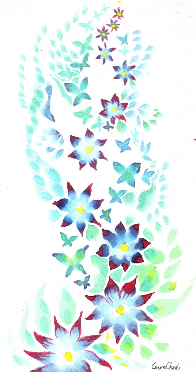 Flowers a blossom butterflies Watercolor painting- acuarela pictura cu flori
