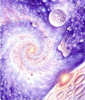 Galaxie planete si asteroizi desen facut cu pixul - Galaxy planets and asteroids pen drawing