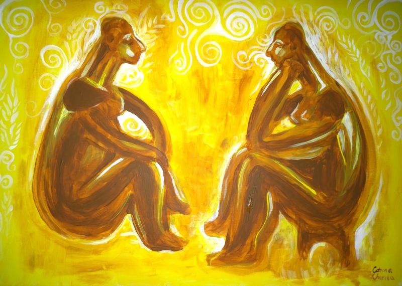 Ganditorul si femeia sezand pictura cultura hamangia