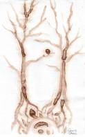 Ginko biloba trees coffee painting