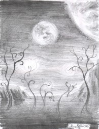 Gliese 667Cc vegetation pencil drawing
