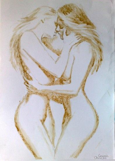Lesbians Kissing coffee painting- Doua fete care se saruta pictura facuta cu cafea