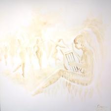Muza Terpsichore pictura facuta cu cafea - Terpsichore coffee painting