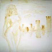 Nud cu oras pictura facuta cu cafea