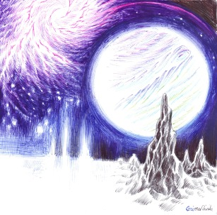 Peisaj cosmic desenat cu pixul