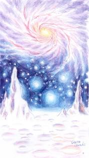 Peisaj de pe alta planeta desenat cu pixul - Space scape ball point pen drawing