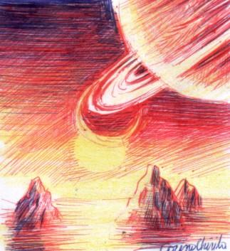 Peisaj de pe alta planeta desenat cu pixul