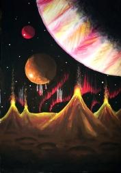 Peisaj de pe Io unul dintre satelitii planetei Jupiter