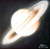 planet Saturn oil on canvas space painting