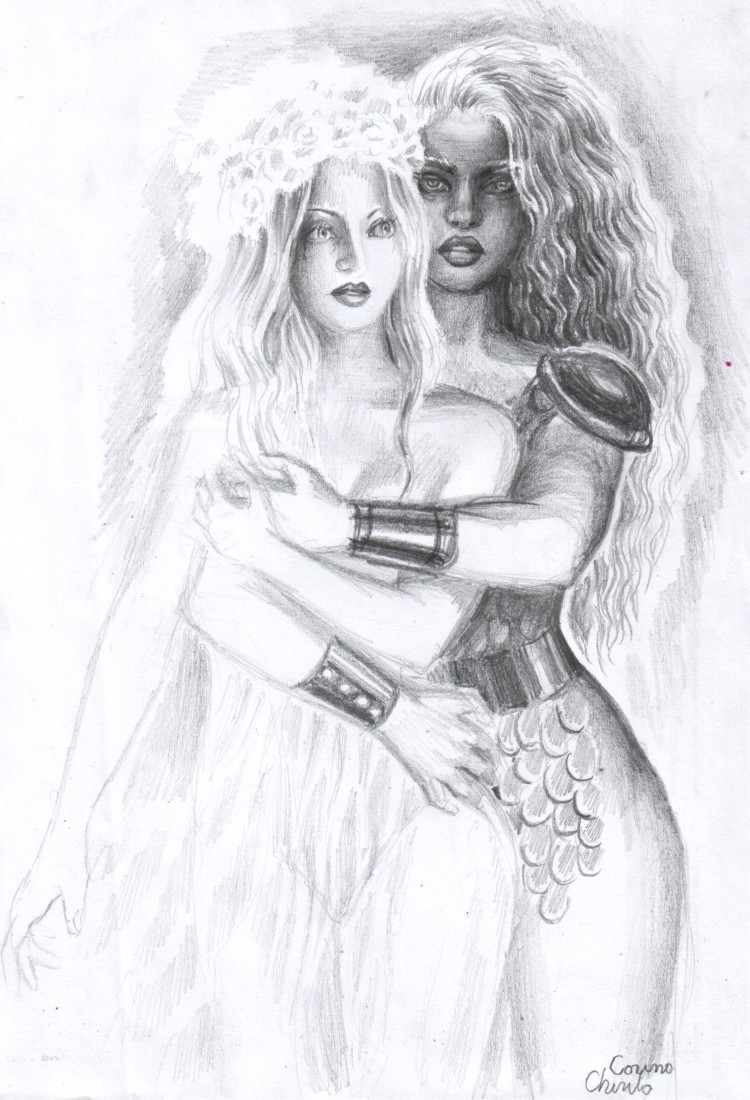Poveste de iubire cu o amazoana si o printesa desen in creion