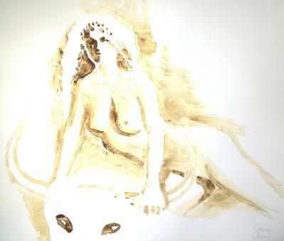Princess Europa and the bull coffee painting - Printesa Europa pictura facta cu cafea