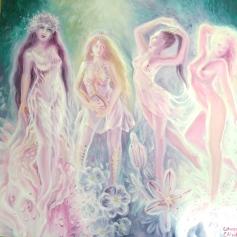 Eranna Gyrinna Gyara si Gorgo - Gradina cu fete a poetei Sappho pictura ulei pe panza