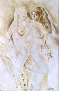Sappho coffee painting - Poeta Sappho pictura facuta cu cafea