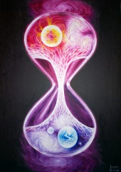 Scurgerea timpului in univers pictura ulei pe panza