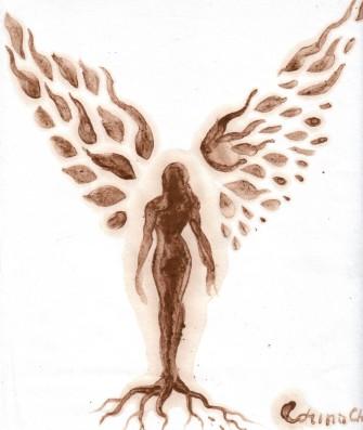 Silueta de femeie cu radacini si aripi pictura facuta cu cafea Silhouette with roots and wings coffee painting