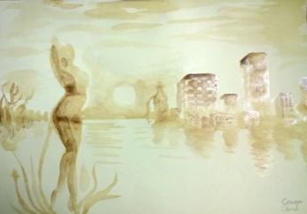 Silueta in amurg si oras pictura facuta cu cafea - Silhouette and city coffee painting