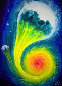 stea absorbita de o gaura neagra pictura acrilice pe panza - blue giant star deformed by the gravitational fiels of a black hole