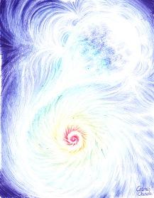 Stea deformata de campul gravitational al unei gauri negre desen facut cu pixul