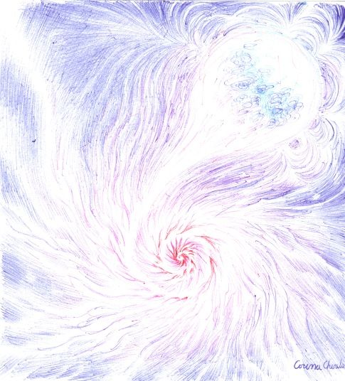 Stea deformata de campul gravitational al unei gauri negre desen in pix