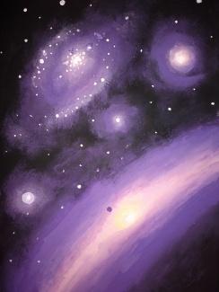 Stele si galaxii in violet