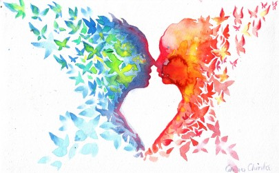 The butterflies of love Watercolor painting