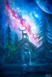 Artemis si Vanatorul Actaeon transformat in cerb