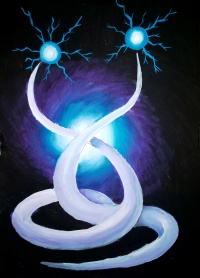 Thin flame electricity abstract painting - energii gemene pictura abstracta