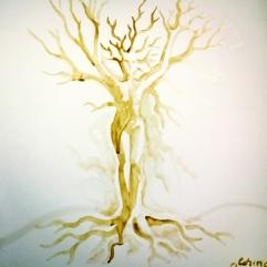 Tree man coffee painting - Arhetipul copacului pictura facuta cu cafea