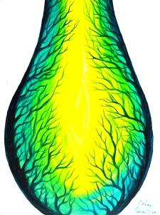 Mugurele vietii sau o structura vie vascularizata, pictura acrilice pe panza