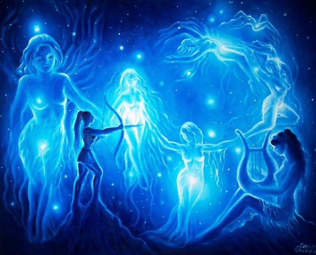Sanziene iele si pleiade alaturi de Bendis sau Artemis si Sappho pictura ulei pe panza - Plaides oil on canvas painting