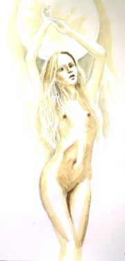 Nud pictat cu cafea - Cofee painting of a beautiful woman