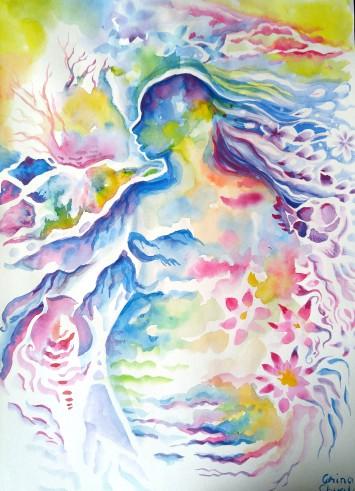 Pictura acuarela silueta de femeie flori munti forme - Watercolor painting