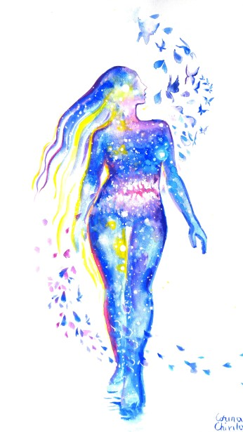 Universe inside the silhouette of a woman watercolor painting