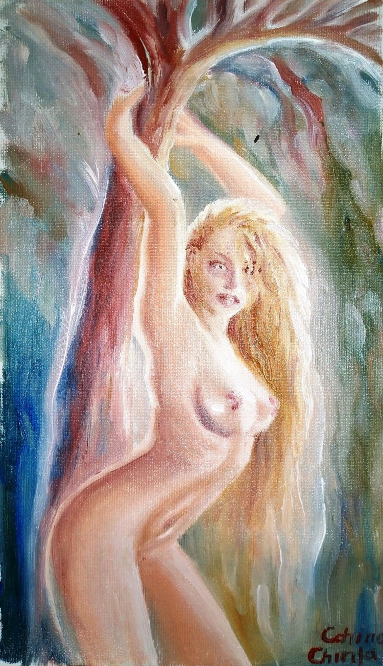 Eva in mijlocul naturii si copacul sacru nud ulei pe panza - Naked woman and tree oil on canvas painting