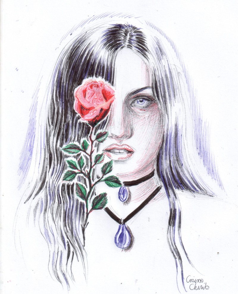 goth girl with rose portrait drawing