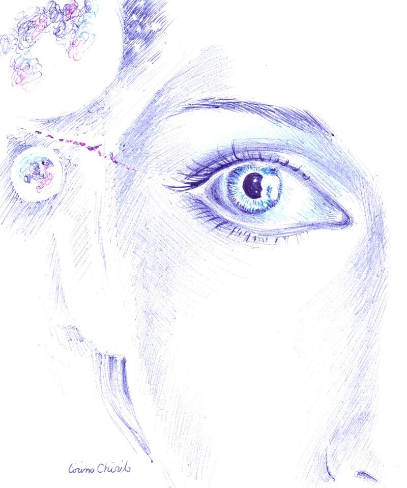 ochiul ei albastru privind luna desen