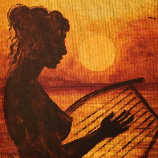 ucenica talentata a poetei Sappho din Lesbos cantand in lumina apusului de soare, pictura