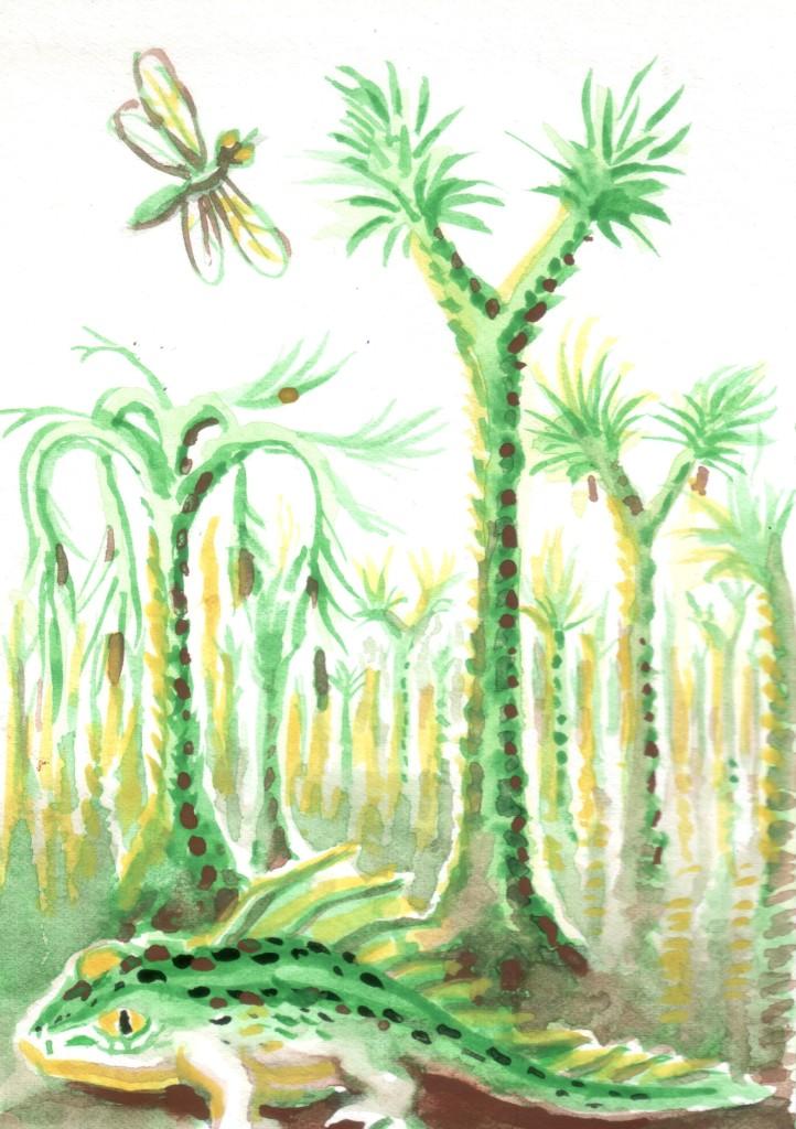 Peisaj din carbonifer cu arbori sigillaria si lepidodendron si stegocefal, acuarela