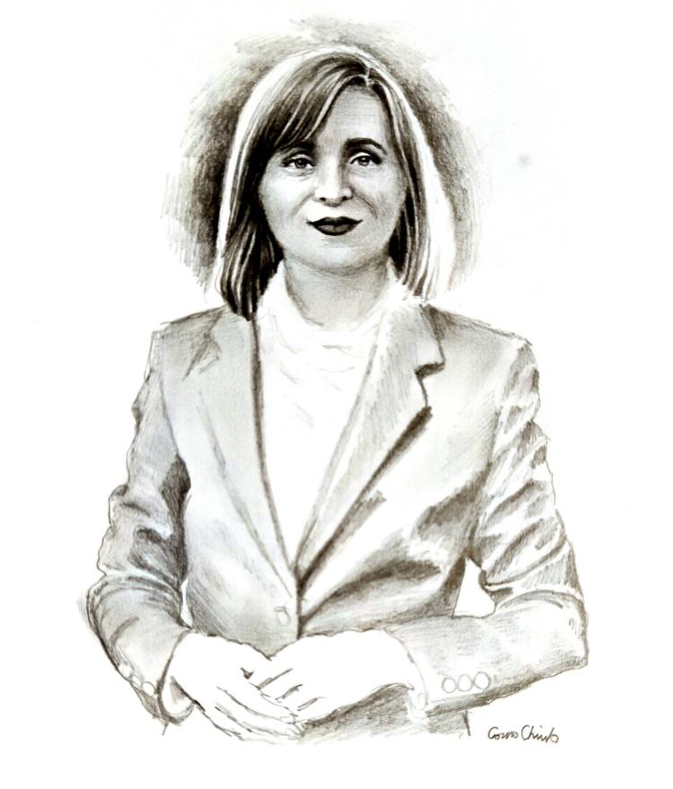 Maia Sandu, desen in creion