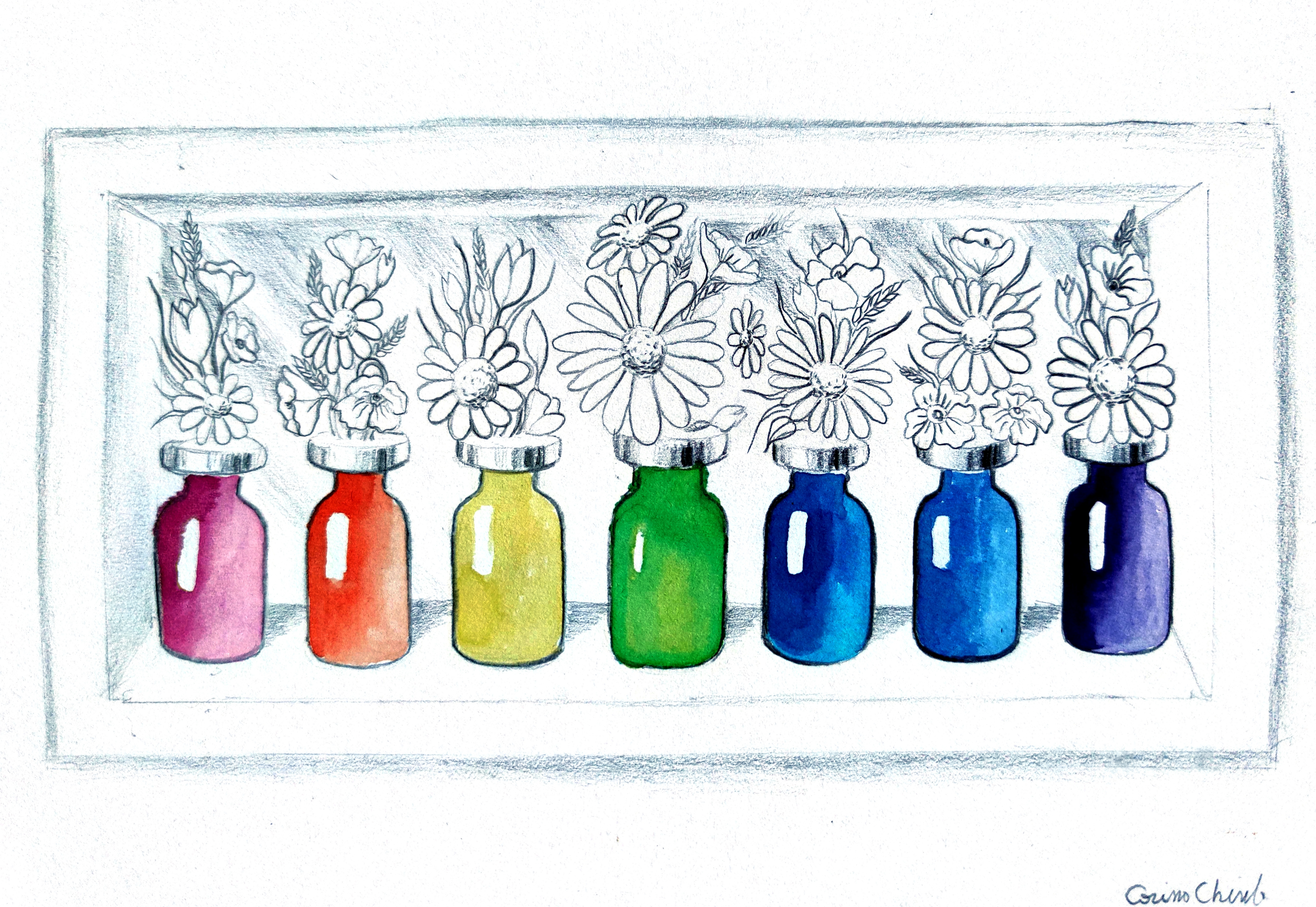 Doze de vaccin colorate cu flori